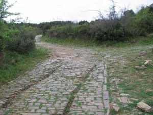 The Via Domitia, with traces of Roman chariot tracks is the oldest Roman road in Gaul, and one of the oldest Roman roads anywhere. It was constructed in 118 BC/ By Ramessos