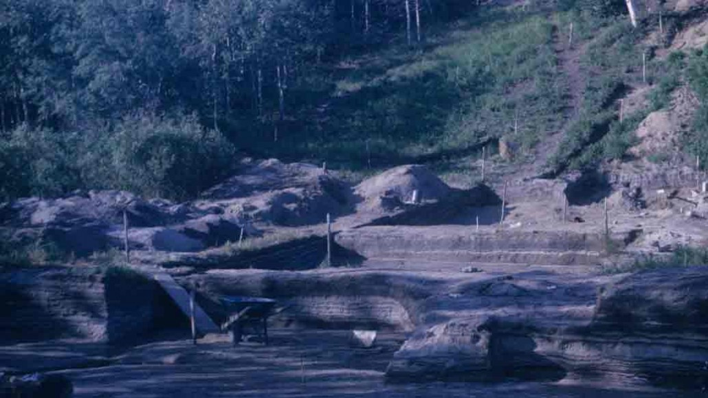The Onion Portage excavation site in 1967. Shows heavily stratified layers of different times of human habitation. Photo Credit: National Park System