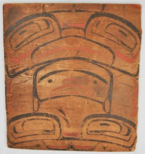 Panel from a Tlingit bentwood box (circa 1800's). The box is thought to have held a clan's sacred objects or possibly the paraphernalia of a shaman. Credit: (Kathy Dye/Sealaska Heritage Institute)